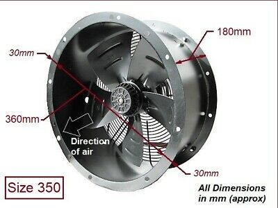 """Industrial Commercial Cased Axial Extractor Duct Fan 350mm (14"""") New"""
