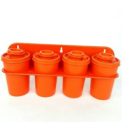 Tupperware small canister container Salt Pepper Spice rack Orange Vintage