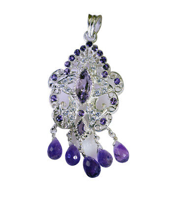 grand Amethyst 925 Sterling Silver Purple Pendant Natural supply US gift