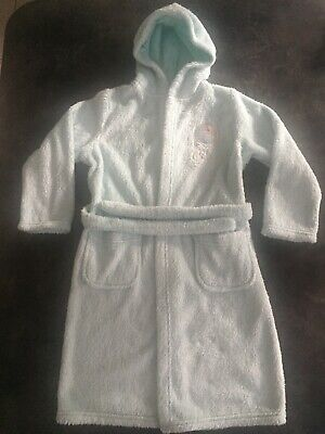 Girls M&S Disney Frozen Elsa dressing gown Bathrobe Blue Sparkly age 7/8