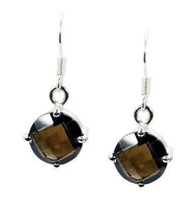 splendid Smoky Quartz 925 Sterling Silver Brown Earring Natural jewelry CA gift