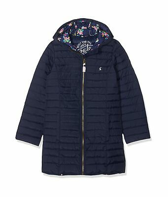 Joules Girl's Longline Kinnaird Coat 4 Years Blue (French Navy Frnavy)