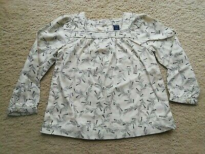 Baby Gap Girls Cream / Pale Yellow Top With Fern Design Age 3 Years