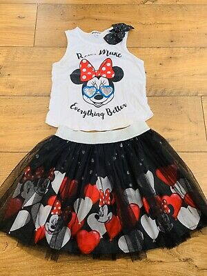 Minnie Mouse Top And Tutu Skirt Age 7/8 Disney Holiday Outfit