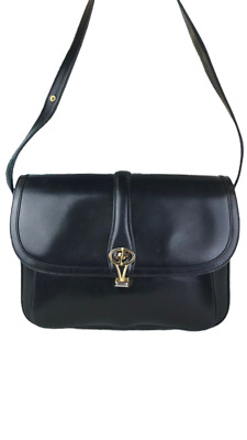 GUCCI Black Leather Vintage Flap Shoulder Bag Gold Emblem Handbag Logo GG Flip