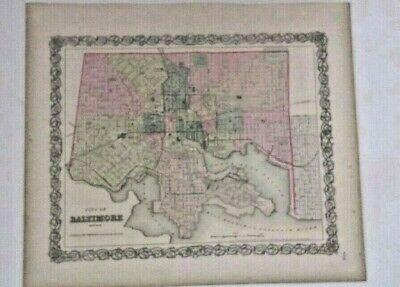 antique map   Baltimore Maryland  1856 Colton's Map  show railroads 1st edition