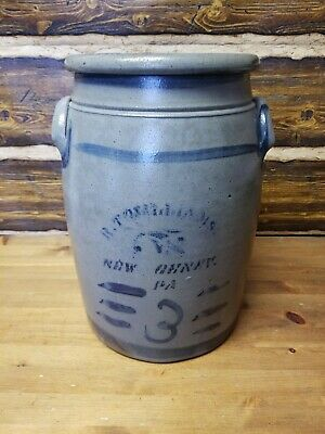 Antique R T. William's New Geneva Pennsylvania Stoneware Crock 3 Gallon