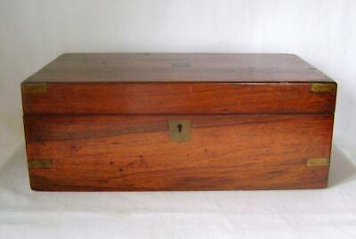 Antique Victorian Rosewood Writing Slope Box with Brass Corners