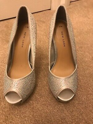 Ladies Shoes Size 3 36 Silver Glittery Party Heels