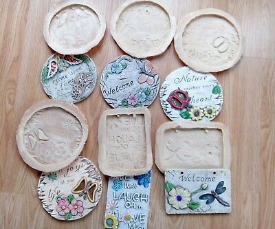 6 Latex Plaque Garden Moulds, NEW,