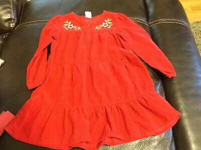 Girls Old Navy dress size 4T red long sleeve with flowers