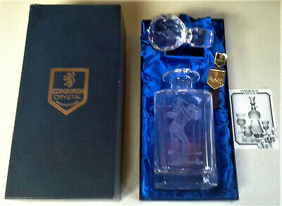 Edinburgh Crystal Golfer Decanter In Original Box Liquor Brandy - Nos