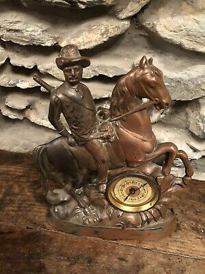 Antique Mantle Clock , Copper Plated Iron Cast Of Military Man On Horse ., 1890s