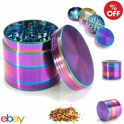 2 Inch 4 layers Rainbow Zinc Alloy Herb Grinder Tobacco Spice Crusher Leaf Smoke