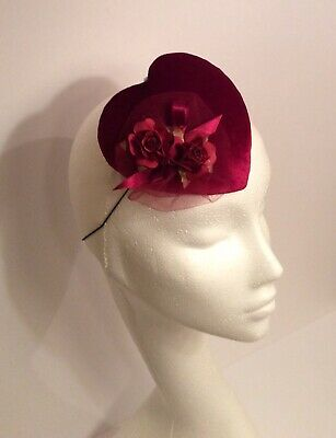 Vintage Style Love Heart Cocktail Hat/ Fascinator With Rose Decoration.