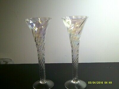 toscany glass Astaire pair of lustre optic toasting flutes 5oz capacity