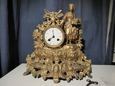 Figural Bronze Mantel Clock, 8 Day Bell Stricking French Movement
