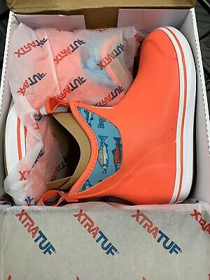 """XTRATUF Women/'s Salmon Sisters 6/"""" Ankle Deck Boot-Fishing Pick Size Coral"""