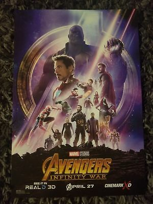 MARVEL Avengers Infinity War Collector's Poster Real D 3D Thanos Spider Man New