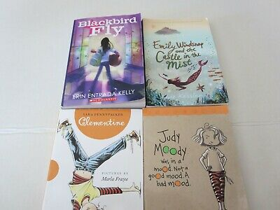 Childrens Chapter Books lot of 4 Clentine, Blackbird Fly, Judy Moody, Emily Wind