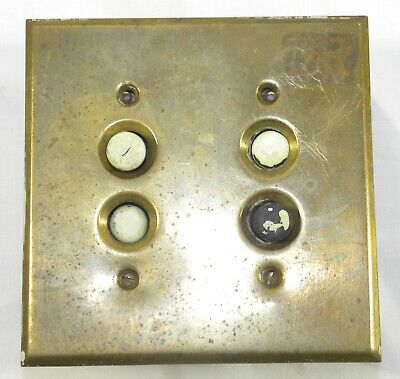 Antique BRASS SWITCH COVER Double Push Button Porcelain Base LIGHT PLATE