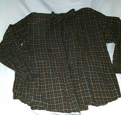 ORVIS Luxury Cotton /& Merino L//S Men/'s Shirt BROWN multi-color plaid LARGE $139