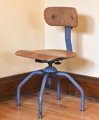 Vintage Singer Sewing Machine Chair Industrial Textile Mill Wooden Swivel Seat