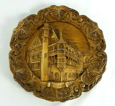 Vintage Travail Decor Main Colmar, France Wood 3D Hand Carved Wall Plate Plaque