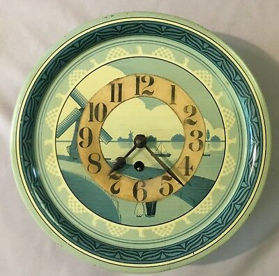 Smith's Tin Plate Delft Style Clock