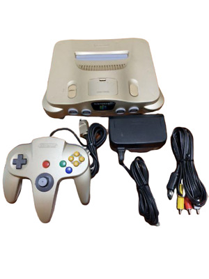 Nintendo 64 GOLD Console N64 Limited Edition W/ Controller AV cable adapter