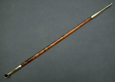 Antique 19th Century Chinese Qing Dynasty Long Wood Pipe With Brass Mounts