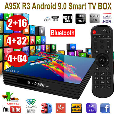 A95X R3 Smart Android 9.0 TV Box RK3318 Quad Core 4GB RAM 64GB ROM 4K WiFi BT4.2