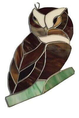 """OWL bird (Large)-Stained Glass - Handcrafted-Sun Catcher - 10""""x 7""""inc"""
