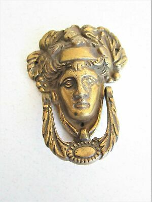Antique Lady Liberty Brass Door Knocker Goddess Hardware Vintage Patina Home