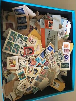 35 X 30 X 10cm Box Of Australian And International Postage Stamps Used On Paper.