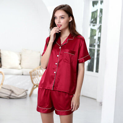 Womens Ladies Satin Pyjamas Set Silky Summer Lounge wear Pajamas Short sleeve