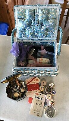 Vintage Sewing Basket With Notions