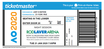 Australian Open Ticket Rod Laver Arena Tuesday January 21 - 7pm