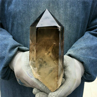 2.09LB Natural smoky citrine quartz obelisk crystal wand point healing sda108