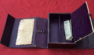 Antique C1900 Victorian  Plumb Leatherette Travel Sewing Compendium Box Kit