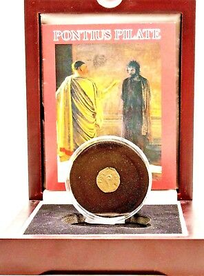 Pontius Pilate ,Judean Bronze Prutah Coin In Wood Box With Story and Certificate