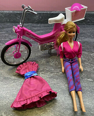 💗 Vintage Mattel 1983 Barbie Doll & Pink Bicycle Bike Moped Scooter Motorbike