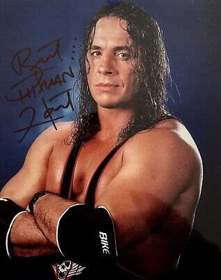 Brett 'Hitman' Hart HAND SIGNED 10x8 Photograph WWE Wrestling *IN PERSON* COA