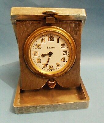 Antique 1925 Art Deco 8 Day Silver Cased Travelling Clock Excellent Condition.