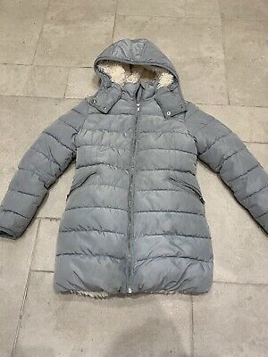Next Girls Grey Puffa Style Faux Fur Lined Jacket. Age 10 Years.