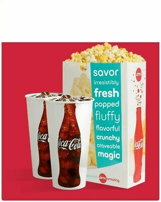 AMC Theaters 2 Large Drinks Coke & Large Popcorn  Fast E-Delivery Exp 12/31/2020