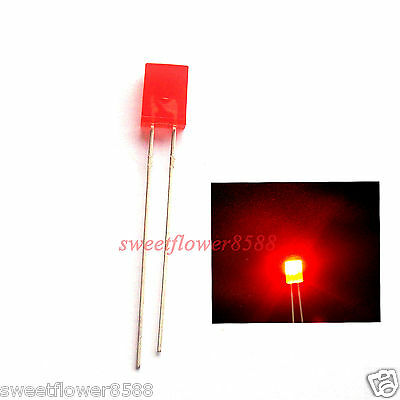 1000pcs 2x3x4mm 2x3mm Diffused Red Color Red Light Rectangle Rectangular LED