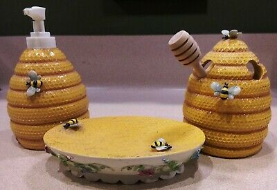 Kness Beehive Bumble Bee Bathroom Set Soap Dish & Dispenser & Tooth Brush Holder
