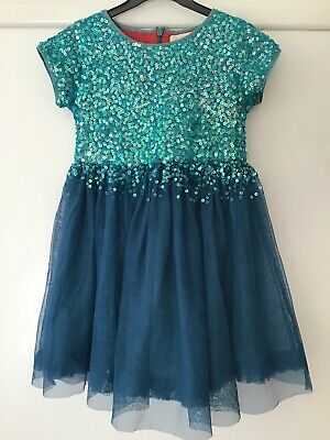 Girl's party dress mini-boden age 5-6yrs blue/jade colour excellent condition