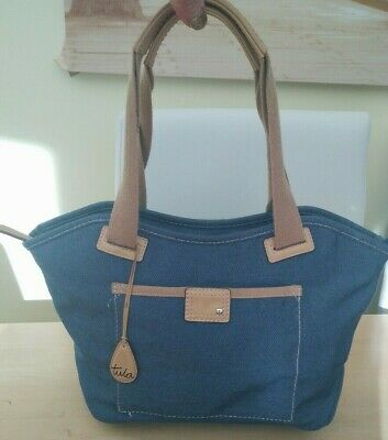 Tula by Radleyblue  denim and beige leather shoulder bag. holiday